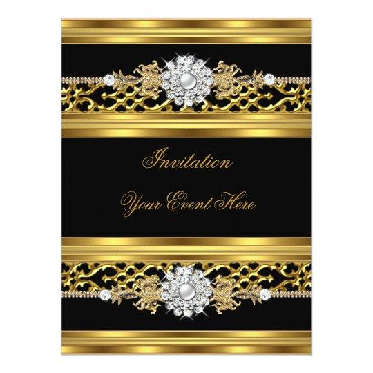 Elegant Invitation Black Lace Gold Jewel