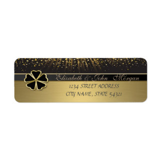 Elegant Irish Schamrock ,Gold  Address Label