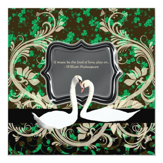 Elegant Irish vintage engagement shamrock Card