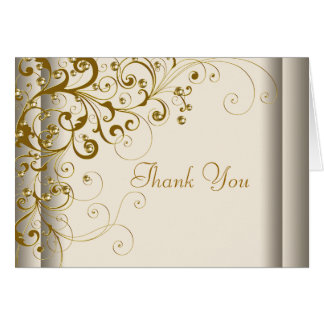 Elegant Ivory and Gold Thank You Cards