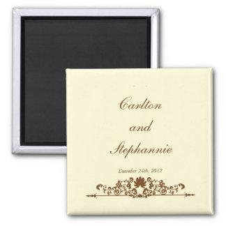 Elegant Ivory/Brown Wedding Magnet Favor