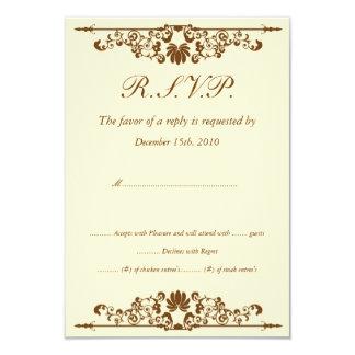Elegant Ivory/Brown Wedding RSVP Custom Invite