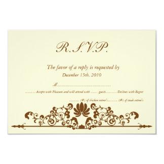Elegant Ivory/Brown Wedding RSVP Invites