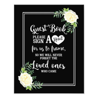 Elegant Ivory Chic Rose wedding Guestbook heart Photo Print
