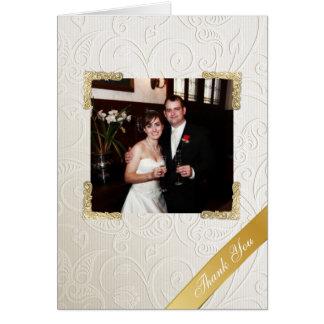 Elegant Ivory Damask Wedding Photo Thank You Card
