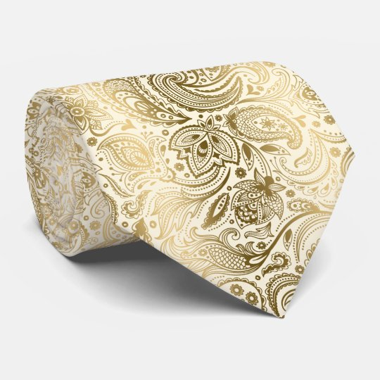 Elegant Ivory & Gold Vintage Paisley Pattern Tie