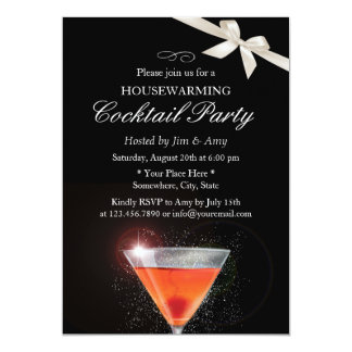 Elegant Ivory Ribbon Housewarming Cocktail Party Card