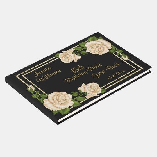 Elegant Ivory Roses & Gold Glitter 18th Birthday
