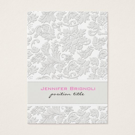 Elegant Ivory White Floral Damasks Embossed Effect Business
