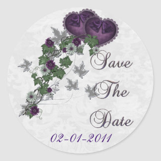 Elegant Ivy Wedding Suite Save the Date Classic Round Sticker