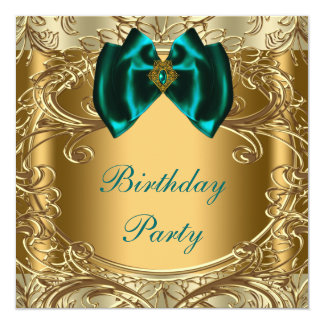 Elegant Jade and Gold Birthday Party Card