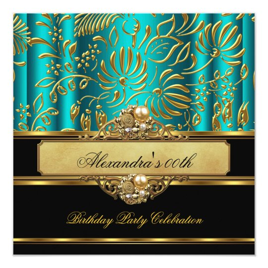 Elegant Jade Blue Green Gold Damask Pearl Party