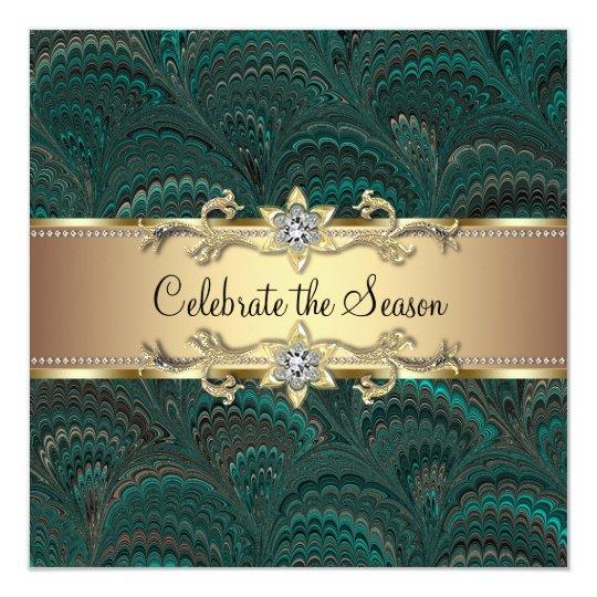 Elegant Jade Green Black Gold Christmas Party Card