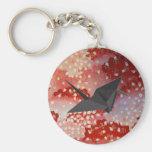 Elegant Japanese sakura Origami Swan Basic Round Button Key Ring