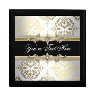 Elegant Jewel Black Damask Keepsake Gift Box