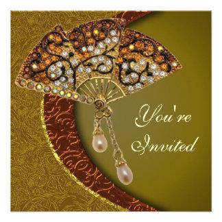 Elegant Jeweled Fan Party Invitation