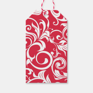 Elegant Juicy Apple Red Wallpaper Swirl Gift Tags