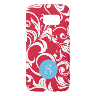 Elegant Juicy Apple Red Wallpaper Swirl Monogram