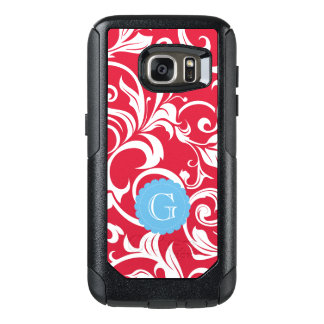Elegant Juicy Apple Red Wallpaper Swirl Monogram OtterBox Samsung Galaxy S7 Case