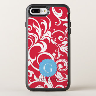 Elegant Juicy Apple Red Wallpaper Swirl Monogram OtterBox Symmetry iPhone 8 Plus/7 Plus Case
