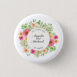 Elegant Just Married Floral Wedding Pin Button
