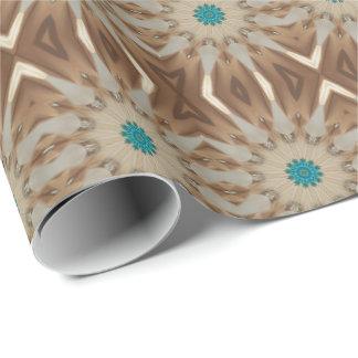 Elegant Kaleidoscopic Design Chic Brown Turquoise Wrapping Paper