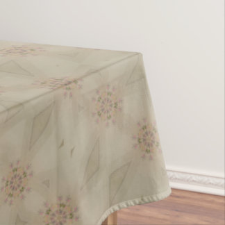 Elegant Kaleidoscopic Flower Design Pastel Tablecloth