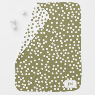 Elegant Khaki / Olive Green Polka Dot Pattern Baby Baby Blanket