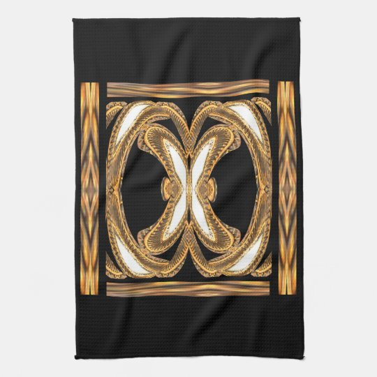 Elegant Kitchen Towel-Home-Gold/Black/White Tea Towel