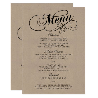 Elegant Kraft Wedding Menu Templates