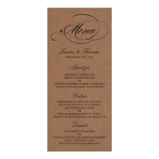 Elegant Kraft Wedding Menu Templates Personalized Rack Card