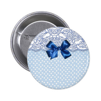 Elegant Lace And Cute Polka Dots 6 Cm Round Badge