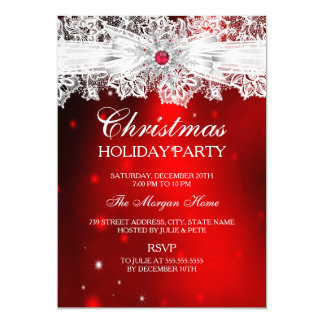 Elegant Lace Bow Red Christmas Holiday Party Card