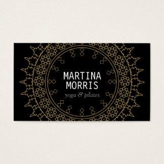 Elegant Lace-Inspired Decorative Circle Black/Gold Business Card