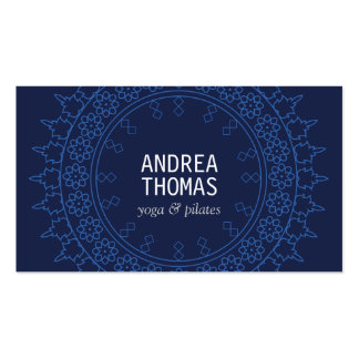 Elegant Lace-Inspired Decorative Circle in Blue Pack Of Standard Business Cards