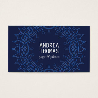 Elegant Lace-Inspired Decorative Circle in Blue Business Card