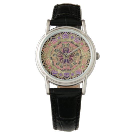 Elegant Lace Mandala On Gold Watch