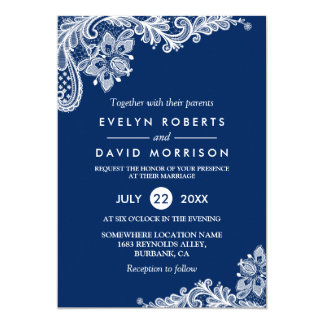 Elegant Lace Navy Blue White Formal Wedding Card