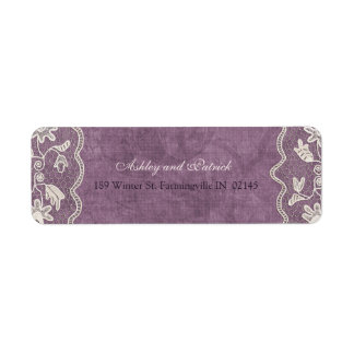 Elegant Lace on Violet Background Address Label