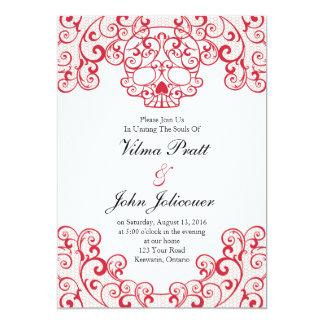 Elegant Lace Skull Calavera Invitation Card in Red