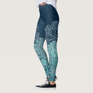 Elegant laced turquoise pattern leggings