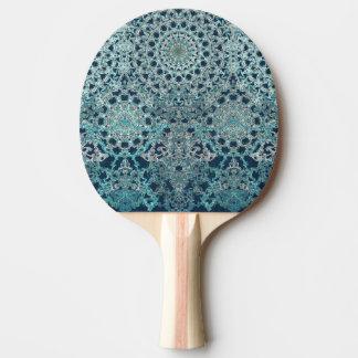 Elegant laced turquoise pattern ping pong paddle