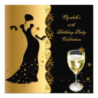 Elegant Lady 50th Birthday Party Gold Black Wine 13 Cm X 13 Cm Square Invitation Card