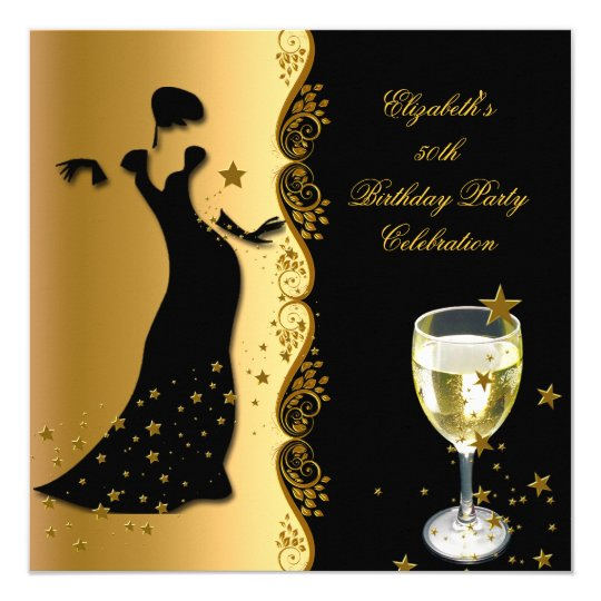 Elegant Lady 50th Birthday Party Gold Black Wine