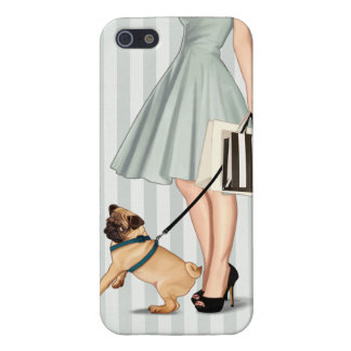 Elegant lady and pug iPhone 5 cases