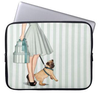 Elegant lady and pug laptop sleeve