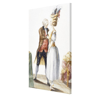Elegant Lady at a Fitting with her Tailor, plate f Canvas Print