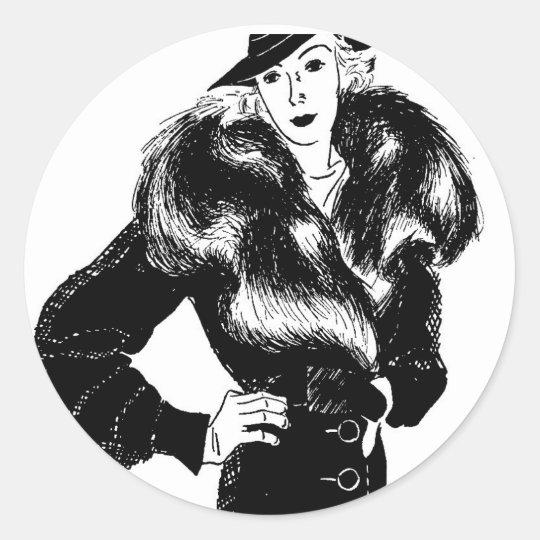elegant lady in black 1930s fashion classic round