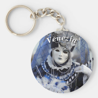 Elegant Lady in Blue Carnival Costume Basic Round Button Key Ring