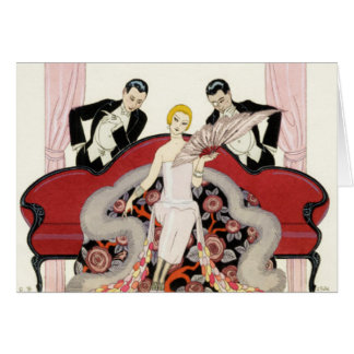 Elegant Lady in Paris Art Deco Card